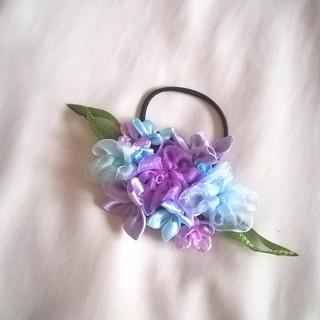 ラッピング無料☆送料無料☆紫陽花のヘアゴム  リボンフラワー(ヘアアクセサリー)