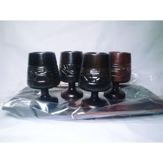 ひまわりさん専用 5点レトロ 木製 アイヌのカップ4個&黒檀の台(彫刻/オブジェ)