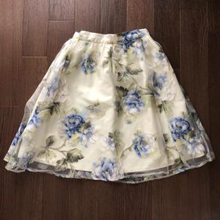 エベルモーション(EBELE MOTION)のオーガンジー花柄スカート(ひざ丈スカート)