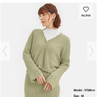 ジーユー(GU)の透かし編みニットカーディガン&スカートのセット(セット/コーデ)