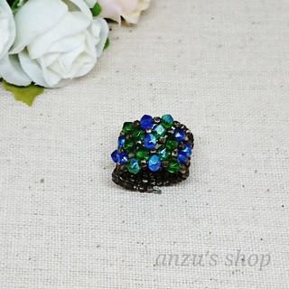 カットビーズ 指輪 ブルー×グリーン アンティーク(リング)