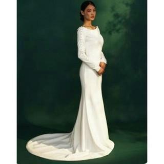 エレガント ウエディングドレス ホワイト ミニトレーン/短トレーン(ウェディングドレス)