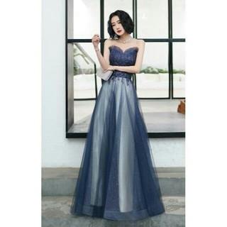 美品! イブニングドレス ロング ベアトップ 優雅なシルエット(ロングドレス)