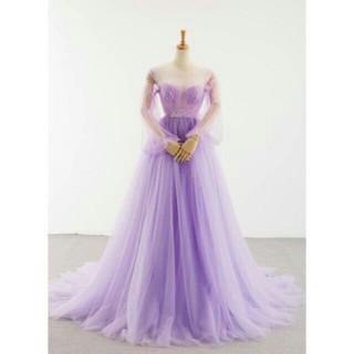 イブニングドレス パープル/紫 ソフトチュール ミニトレーン/短トレー(ウェディングドレス)