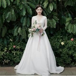 値引き ウエディングドレス ホワイト レース ミニトレーン/短トレーン(ウェディングドレス)