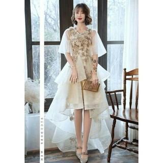 ウエディングドレス ホワイト パフスリーブ タンクトップ(ウェディングドレス)