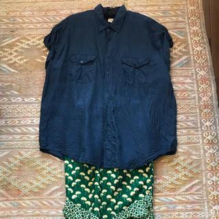 vintage ヴィンテージ  シルク シャツ ネイビー (シャツ/ブラウス(半袖/袖なし))