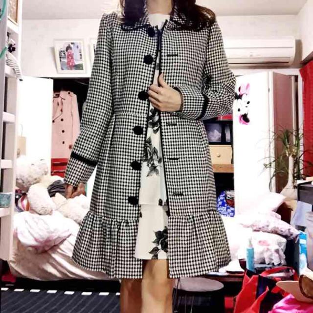 千鳥柄♡ラメ入りコート レディースのジャケット/アウター(ロングコート)の商品写真