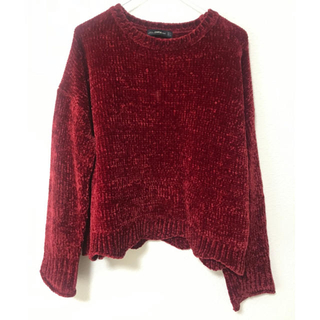 ザラ(ZARA)のZARA ザラ ニット モールニット ベロア ベルベット セーター 赤 レッド (ニット/セーター)