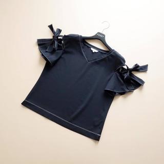 EPOCA - ■エポカ■ 40 りぼん袖 ネイビー 白ステッチ トップス