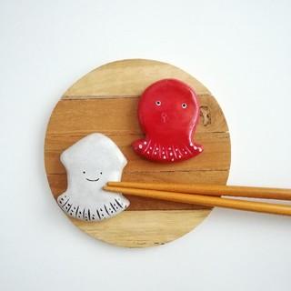 タコ イカ 箸置きセット(テーブル用品)
