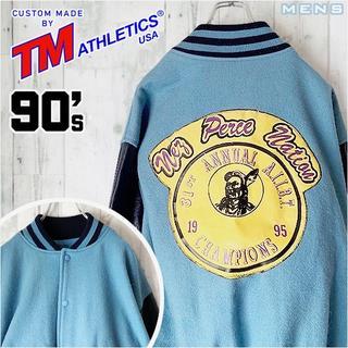 90s TM ATHLETICS レザー切り返し スタジアムジャンパー 46