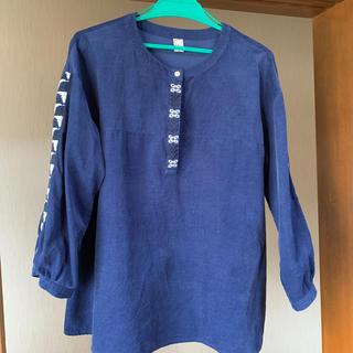 ゴールデンベア(Golden Bear)の7分袖、細コーデュロイブラウス紺色(シャツ/ブラウス(長袖/七分))