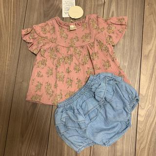 シマムラ(しまむら)のテータテート 花柄Tシャツとフリルデニムパンツのセット 80 セットアップ(Tシャツ)