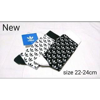 adidas - 新品 22-24cm adidas originals 靴下 黒×白 2足組