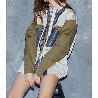 juemi ♡ Jacquard Mix Mill Shirt JK(ミリタリージャケット)