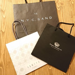 イシヤセイカ(石屋製菓)のスイーツ系 ショップ紙袋3枚セット(ショップ袋)