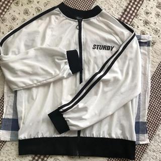 シマムラ(しまむら)の白ジップパーカー 黒ライン 160cm(ジャケット/上着)