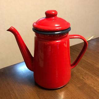 ホーロー ポット ケトル 赤 レッド ホーローポット 美品(陶芸)