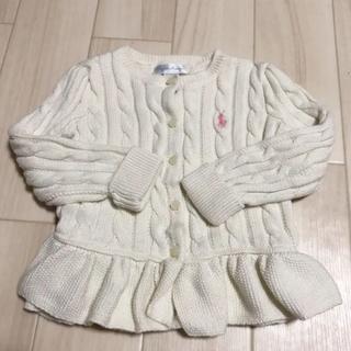 ラルフローレン(Ralph Lauren)の美品 ラルフローレン  ペプラム カーディガン  24m オフホワイト(カーディガン)