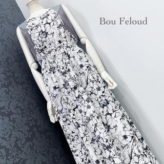 リバーシブル ◆ 花柄 ボーダー 無地 ロングスカート ホワイト(ロングワンピース/マキシワンピース)