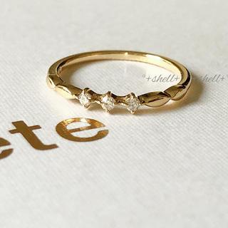 エテ(ete)の現行品 美品 ete エテ K10 0.04 ダイヤモンド ピンキーリング 3号(リング(指輪))