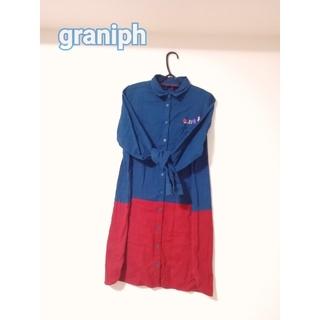 グラニフ(Design Tshirts Store graniph)のGraniph シャツワンピース 刺繍(ひざ丈ワンピース)