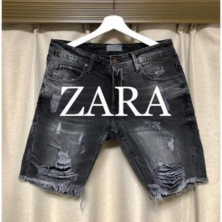ザラ(ZARA)のZARA ダメージ加工!ブラックデニムショートパンツ!(ショートパンツ)