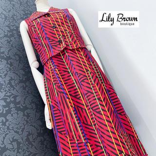 リリーブラウン(Lily Brown)の新品未使用 ◆ リリーブラウン ヴィンテージ調 レトロ柄 シャツワンピース(ひざ丈ワンピース)