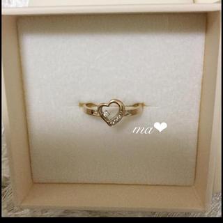 アーカー(AHKAH)の極美品 K18 ダイヤモンドリング 指輪 9号 エローゴールド オープンハート(リング(指輪))