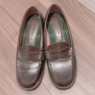 シマムラ(しまむら)のローファー ブラウン ヒール(ローファー/革靴)
