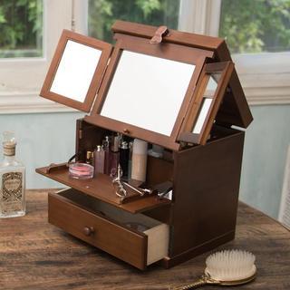 日本製 【Made in Japan】三面鏡木製コスメティックボックス(メイクボックス)