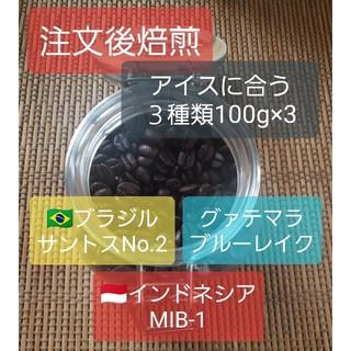注文後焙煎 アイスに合う珈琲豆3種類 100g×3 (コーヒー)