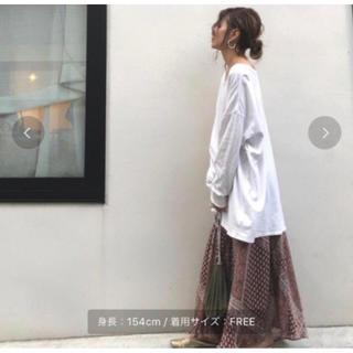 Ungrid - ungrid ランダムプリーツ パネル柄 ロングスカート
