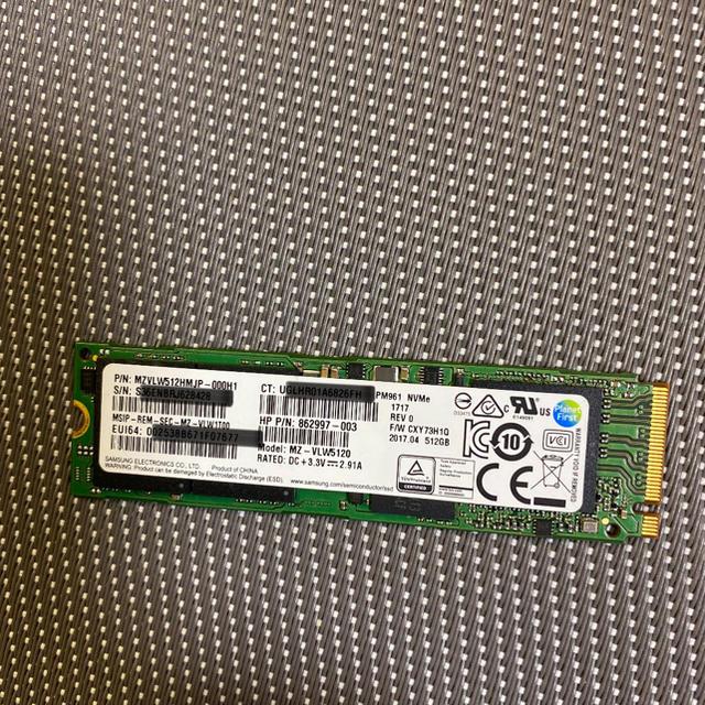 SAMSUNG(サムスン)のSamsung SSD PM961 M.2 NVMe 512GB使用時間30h スマホ/家電/カメラのPC/タブレット(PCパーツ)の商品写真