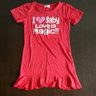 イングファースト(INGNI First)の女児140 Tシャツワンピース 赤色(Tシャツ/カットソー)