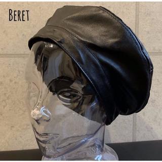 送料込 新品 フェイク レザー ベレー帽 ベレー シンプル 定番 男女 こなれ(ハンチング/ベレー帽)