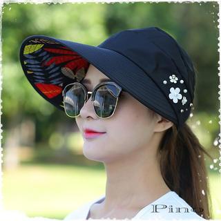 UV 日除け サンバイザー レディース ブラック ビジュー 帽子(その他)