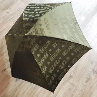 モスキーノ(MOSCHINO)の【未使用・保管品】MOSCHINO モスキーノ 折り畳み傘 カーキ ハート(傘)