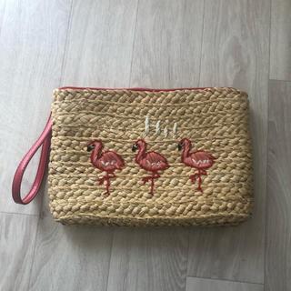 クラッチバッグ フラミンゴ かごバッグ