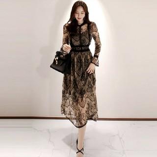 アリスアンドオリビア(Alice+Olivia)の韓国 ロングワンピース レース ラウンジ パーティー ドレス(ロングワンピース/マキシワンピース)