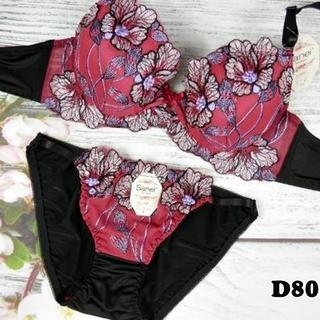 SE25◆D80 L◆美胸ブラ ショーツ 谷間メイク 大花刺繍 ピンク(ブラ&ショーツセット)