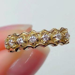 アーカー(AHKAH)のアーカー リング AHKAH ダイヤモンド K18YG 指輪 約8号(リング(指輪))