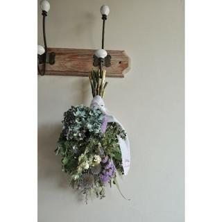 初夏に向けて。コロンとまあるい紫陽花スワッグ。○ドライフラワースワッグ(ドライフラワー)