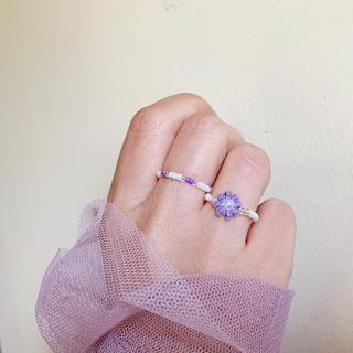 ディーホリック(dholic)の비즈반지 purpleflower ビーズリング(リング)