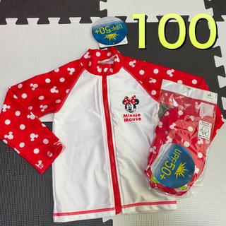 ディズニー(Disney)の新品タグ付き100長袖ラッシュガード 日よけ付きスイムキャップ ディズニーミニー(水着)
