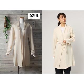 アズールバイマウジー(AZUL by moussy)のAZUL BY MOUSSY 新品 編地カットベルテッドルーズカーデ WHT F(カーディガン)