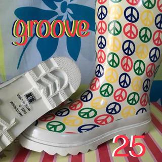 grooveグルーブUS限定ピースデザインレインブーツ25cmUS8 色焼けあり(レインブーツ/長靴)