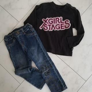 エックスガール(X-girl)のX-girl 95 ロンティー デニム ビッツ(Tシャツ/カットソー)
