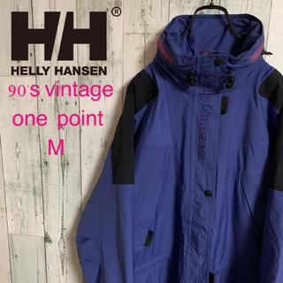 ヘリーハンセン(HELLY HANSEN)の90's ヘリーハンセン ロゴ刺繍 ゆるだぼ 切り替えナイロンジャケット 激レア(ナイロンジャケット)
